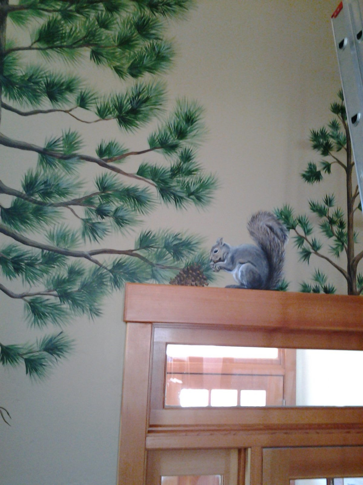Jeffrey Pine Mural - Truckee and Lake Tahoe fine artist wildlife painter nature custom mural squirrel