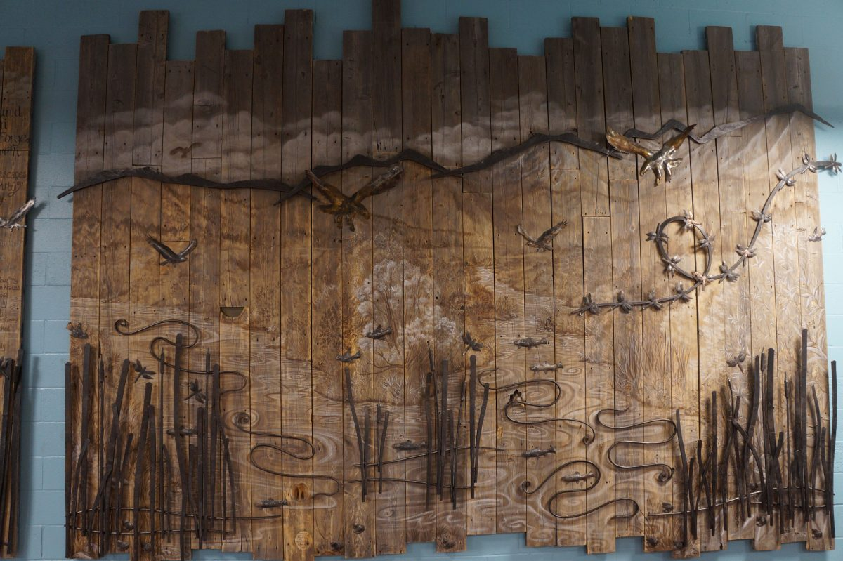 Aquatic Center Murals Truckee Tahoe fine artist wildlife artwork reclaimed pier wood