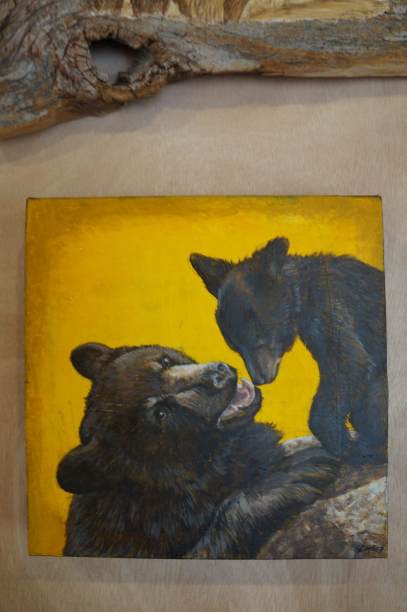 Mother and Child: Miniature - Truckee and Lake Tahoe fine artist landscape painter nature painting bears
