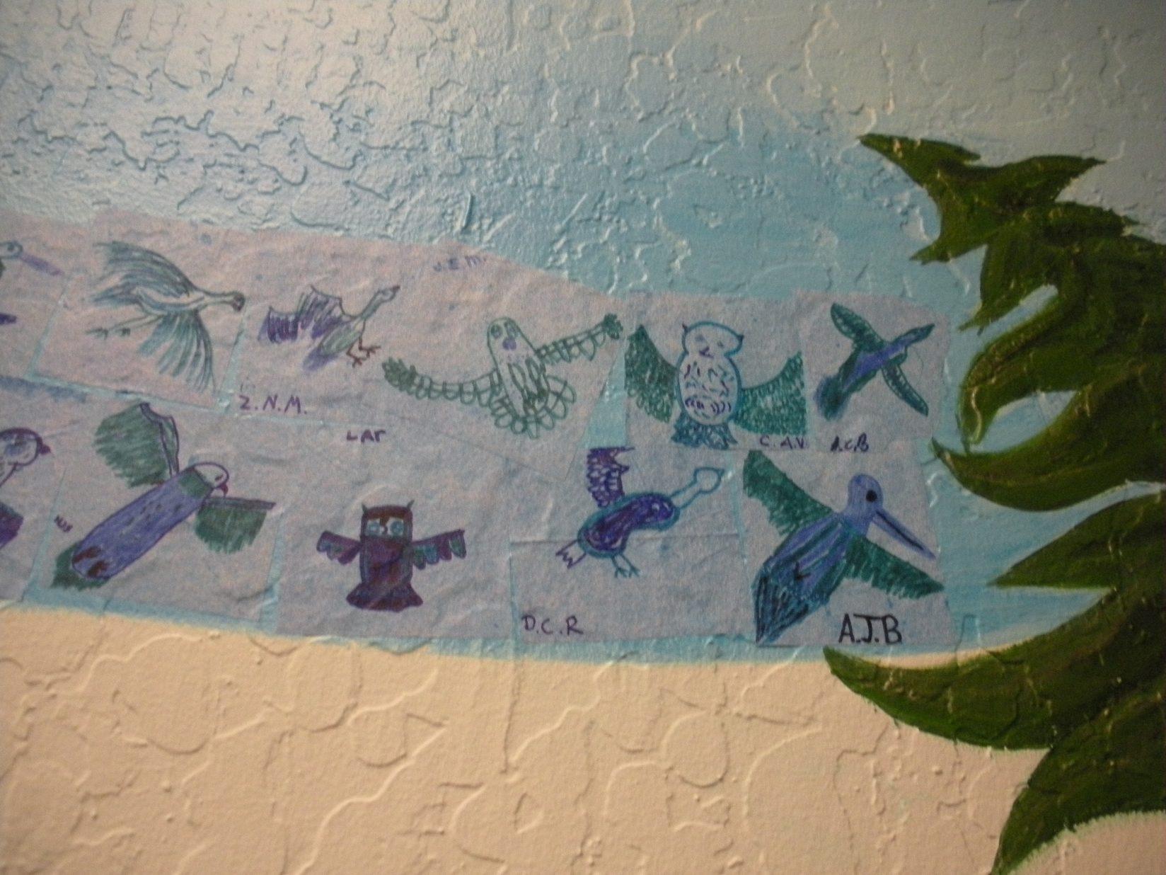 Truckee Elementary School Mural - Truckee and Lake Tahoe fine art nature painter mentorship custom mural birds