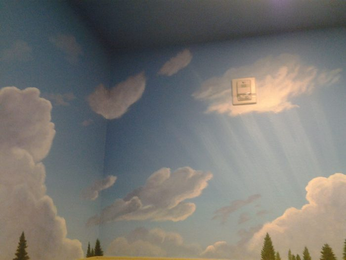 Full Belly Deli custom mural Truckee artist clouds