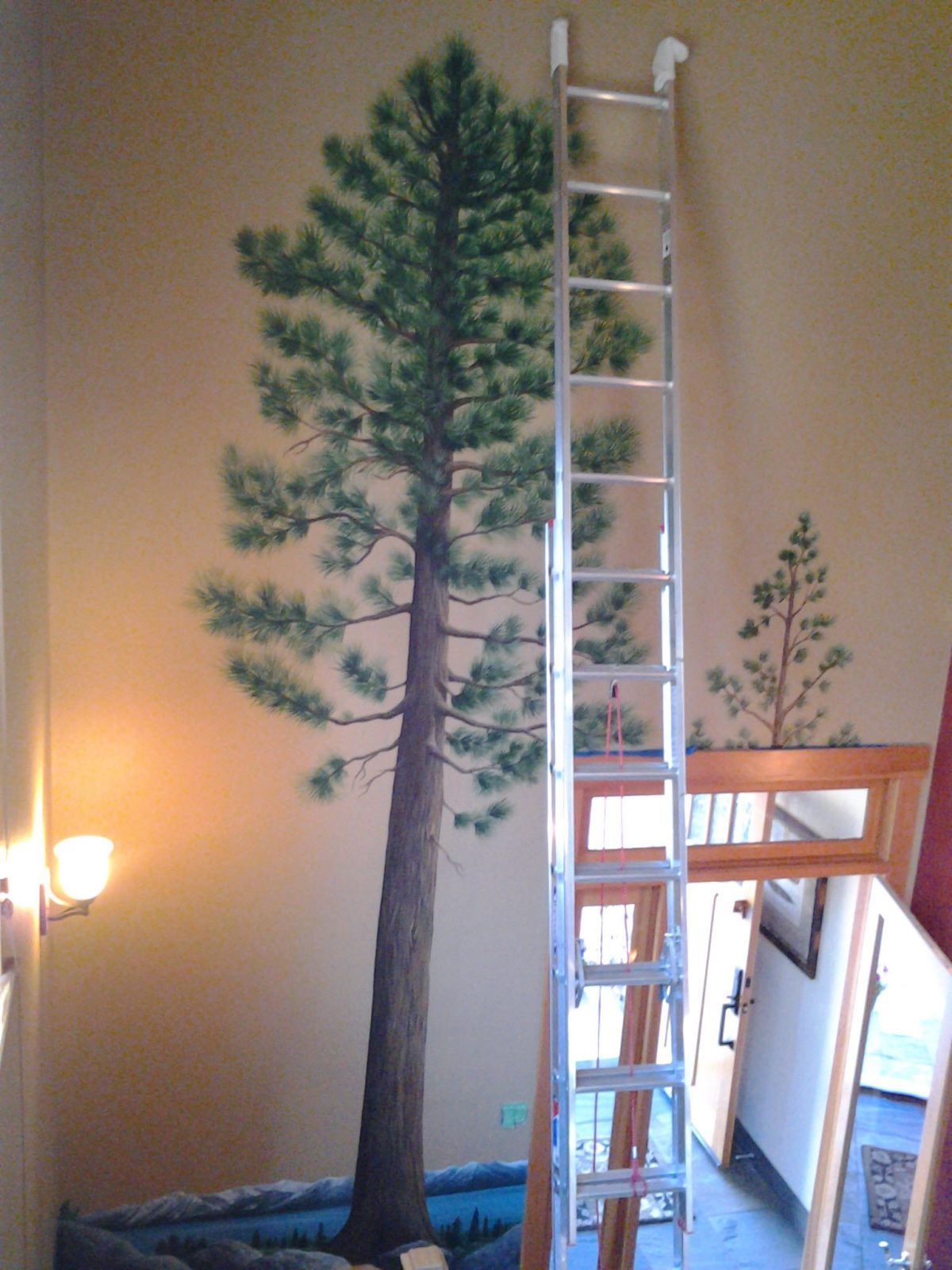 Jeffrey Pine Mural - Truckee and Lake Tahoe fine artist wildlife painter nature painting custom mural in progress