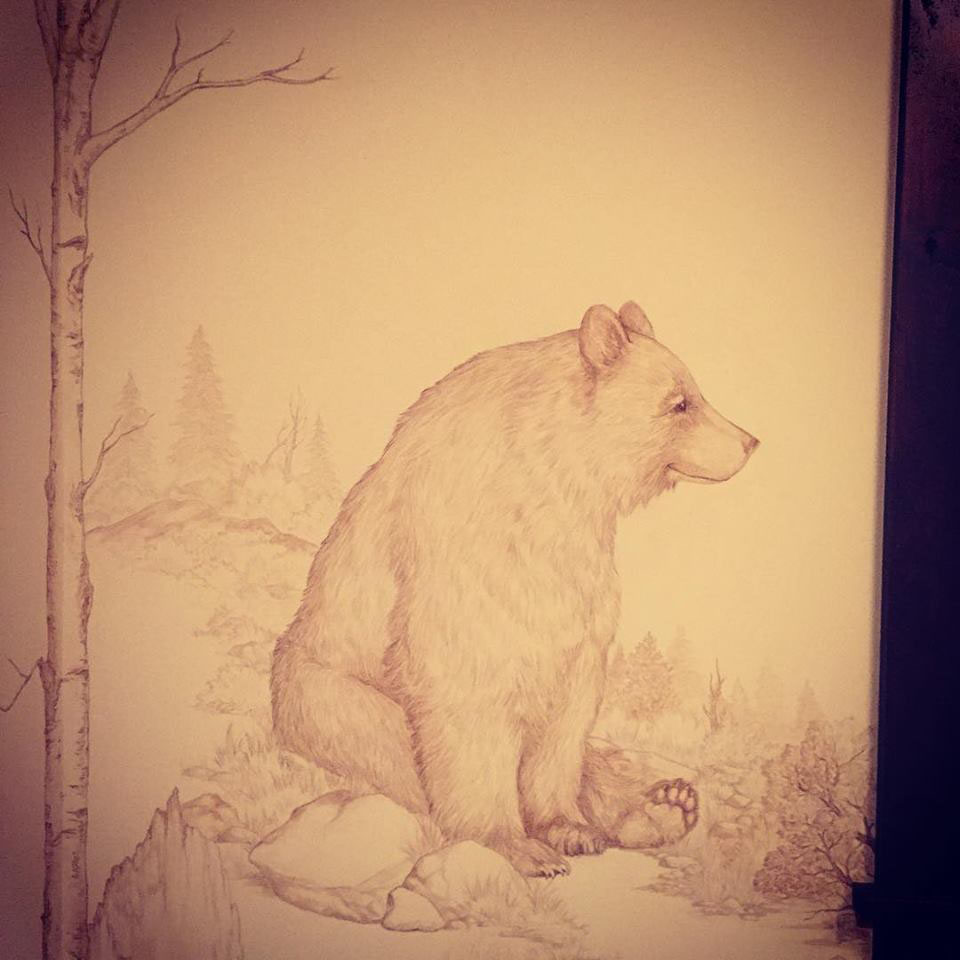 Bear Family Murals - Martis Camp Truckee and Lake Tahoe fine artist wildlife painter nature painting custom mural mama bear