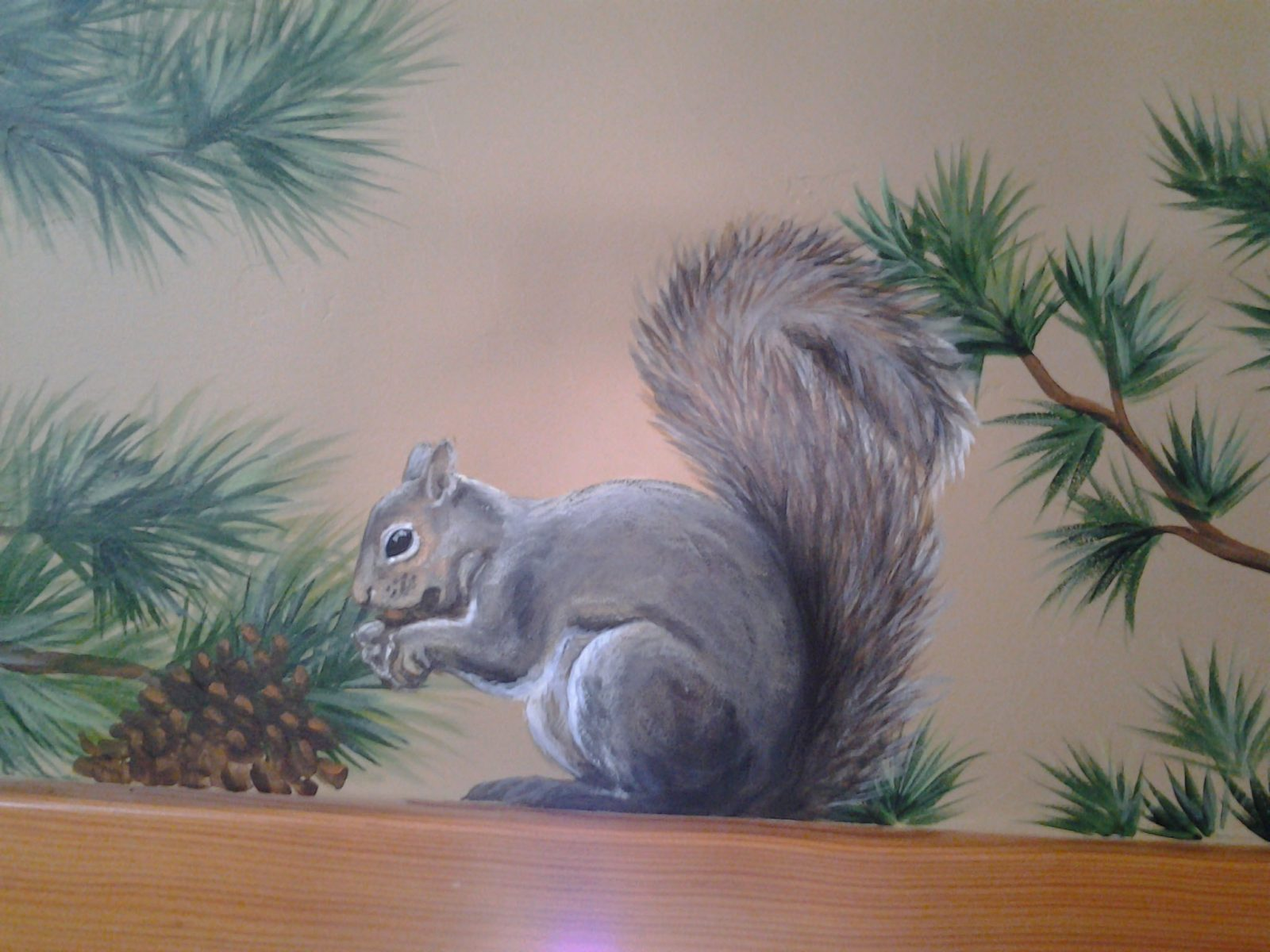 Jeffrey Pine Mural - Truckee and Lake Tahoe fine artist wildlife painter nature painting custom mural squirrel
