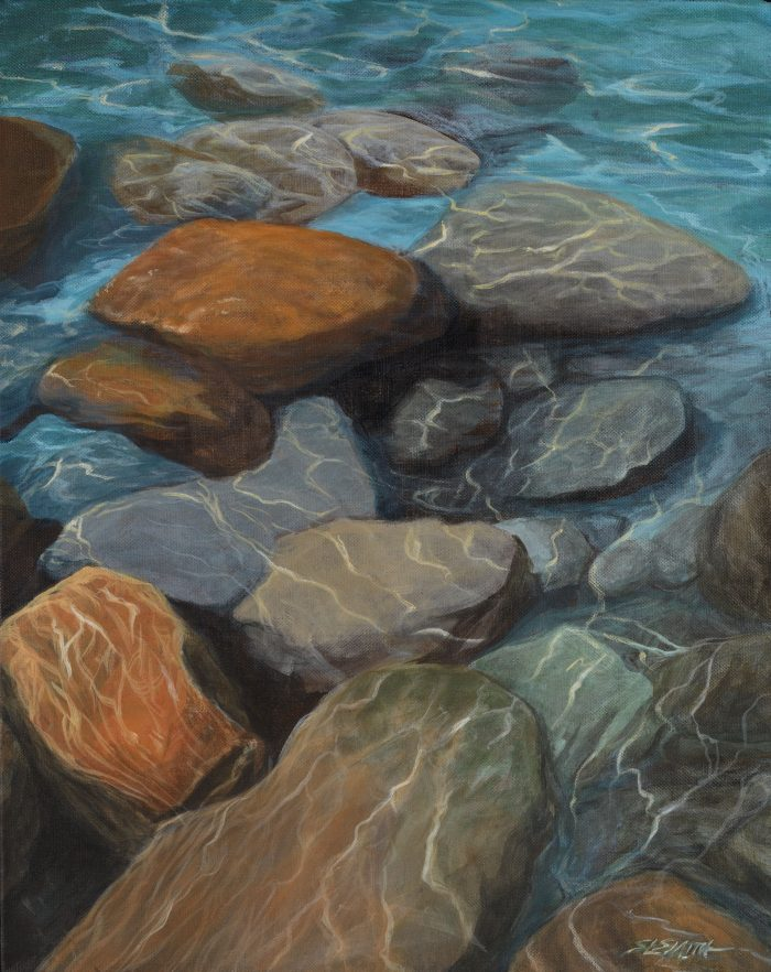 Movement of Water: Shallows - Truckee and Lake Tahoe fine artist landscape painter nature painting ripples boulders