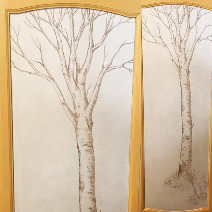 Sepia Toned Linear Tree Mural - Truckee and Lake Tahoe fine artist painting custom mural aspen