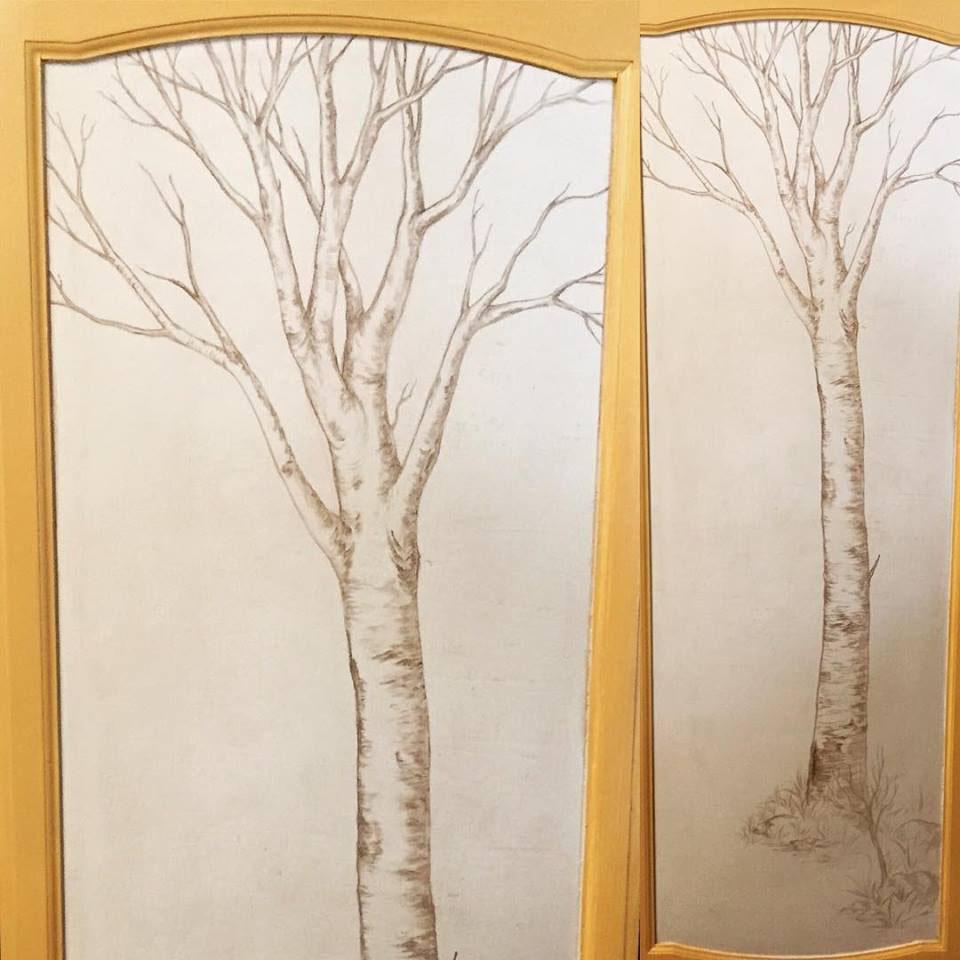 Sepia Toned Linear Tree Mural - Truckee and Lake Tahoe fine artist painting custom mural aspen