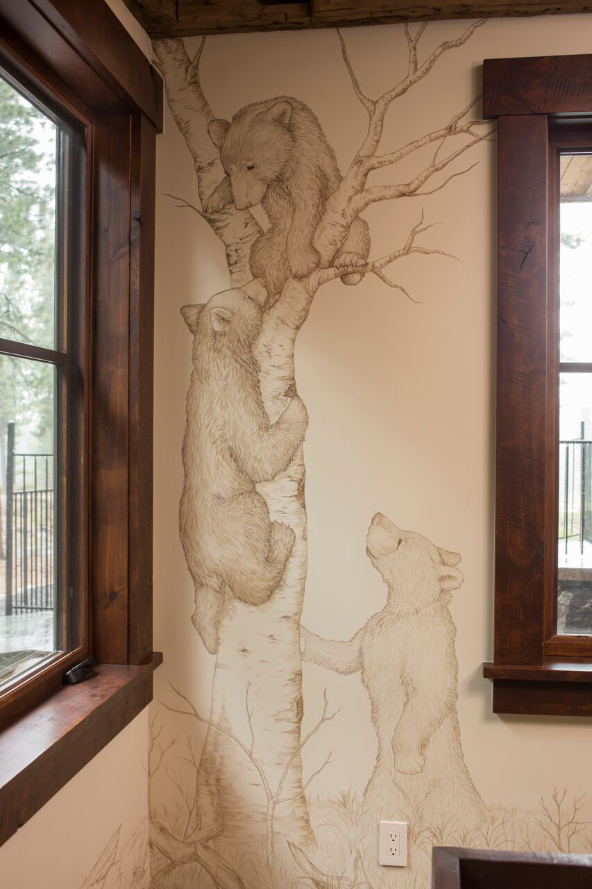 Bear Family Mural: Martis Camp - Truckee and Lake Tahoe fine artist wildlife painter nature painting custom