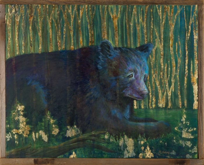 In the Night Forest - Truckee and Lake Tahoe fine artist wildlife painter nature painting bear
