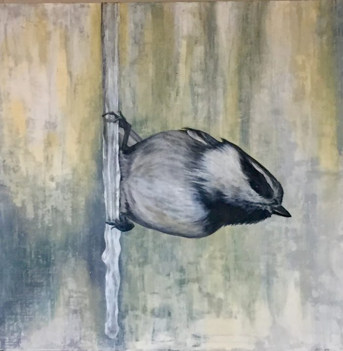 Flight III - Harbinger Lake Tahoe artist wildlife painting and fine art painter Truckee chickadee