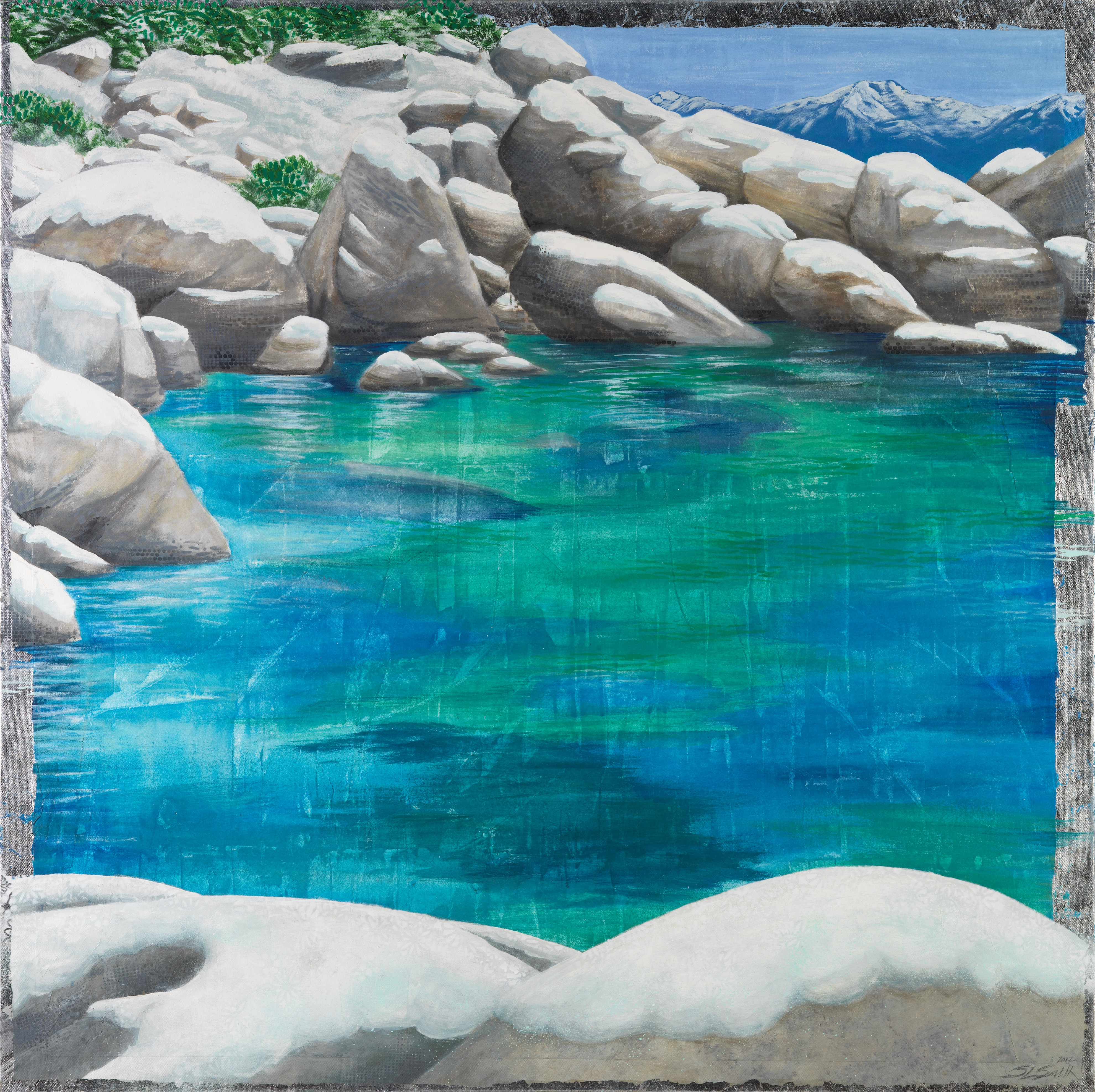 Winter Cove - Truckee and Lake Tahoe fine artist landscape painter nature painting boulders