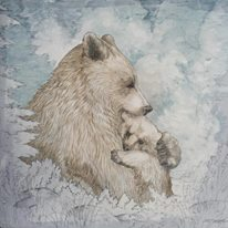 Mother and Child - Truckee and Lake Tahoe fine artist wildlife painter nature panel painting bears