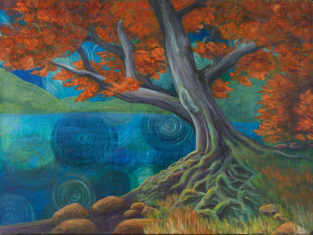 Blue Lake Tree Tahoe Truckee fine art nature painting