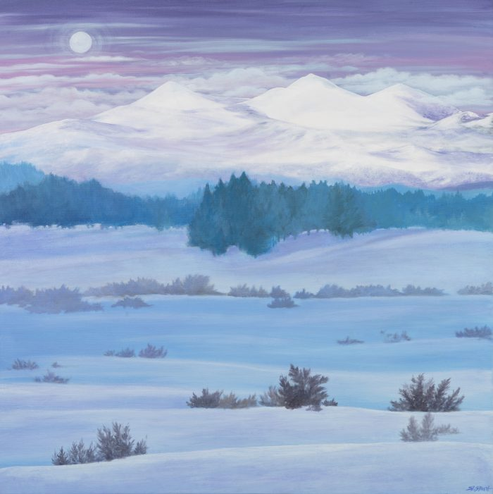 Tahoe Martis Valley Twilight - Truckee and Lake Tahoe fine artist landscape painter nature meadow