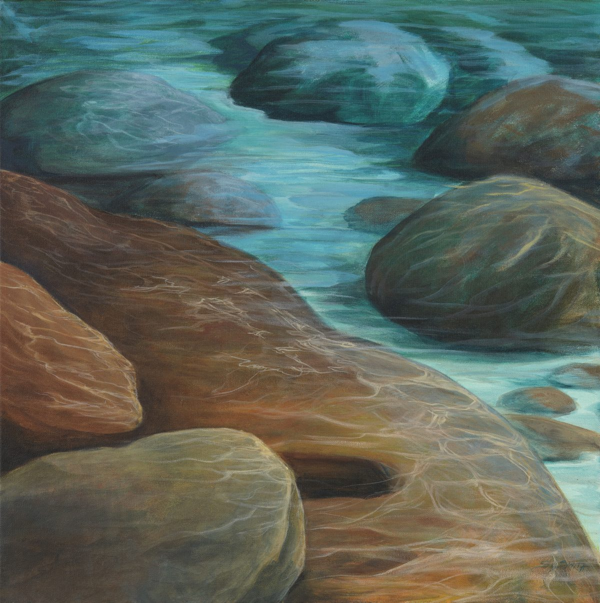 Movement of Water: Tahoe Flow - Truckee and Lake Tahoe fine artist landscape painter nature painting light boulders