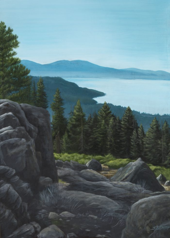 Tahoe Picnic Rock - Movement of Water: Shallows - Truckee and Lake Tahoe fine artist landscape painter nature painting mountains