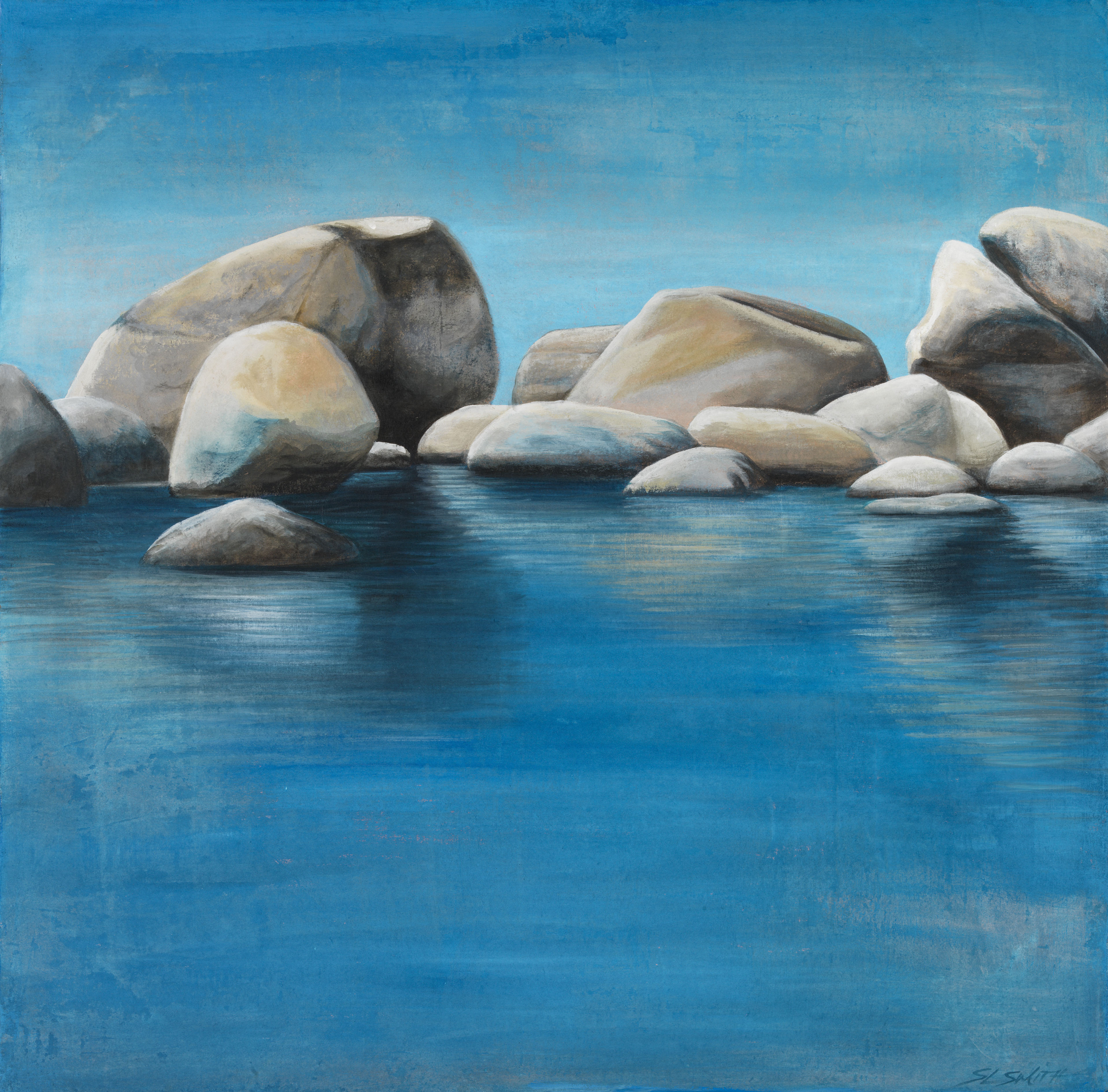 Tahoe Reflections - Truckee and Lake Tahoe fine artist landscape painter nature painting sky boulders