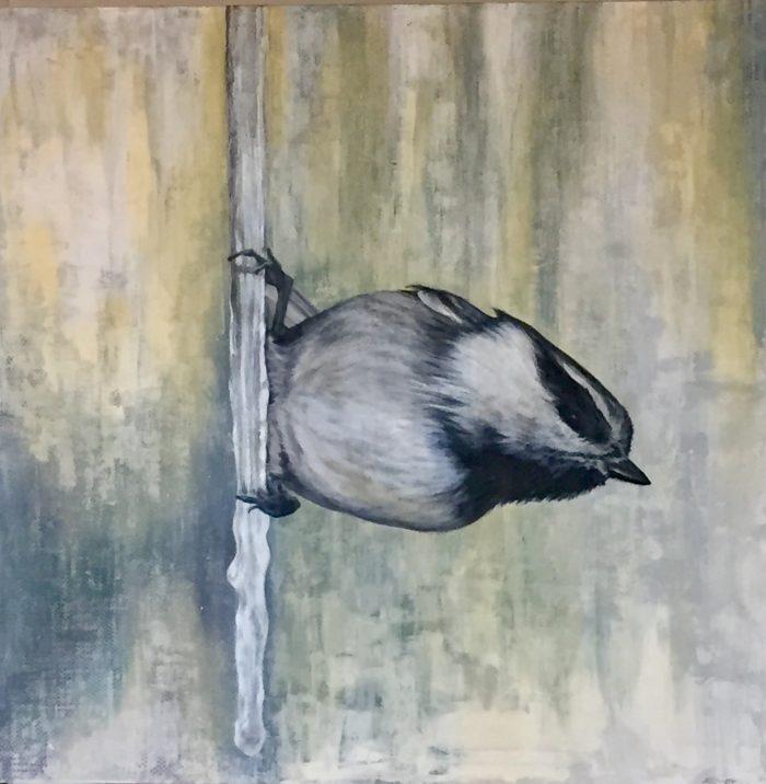 Flight III - Harbinger Lake Tahoe artist wildlife painting and fine art painter Truckee chickadee