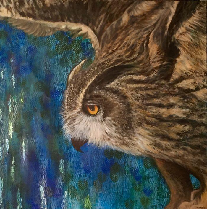 Flight II - Night Flight Truckee and Lake Tahoe fine artist wildlife painter nature painting owl